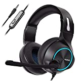 NUBWO Gaming Headset PS4, N11 Xbox one Stereo Wired PC Gaming Headphone mit Rauschunterdrückungsmikrofon, Over-Ear Kopfhörer mit Mute Kontrol für PC, MAC, Playstation 4, Xbox 1 Game- Blue