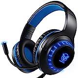 Pro Gaming Headset für PS4 Xbox One PC, Rauschunterdrückung Over-Ear LED PS4 Headset - Kristall Stereo-Klang Gamer Kopfhörer mit Sensiblen Mikrofon & Intensiven Bässen für Computer Laptop Mac