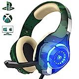 Gaming Headset für PS4 PC, Beexcellent Super Komfortable Stereo Bass 3.5mm LED Camouflage Kopfhörer mit Mikrofon für Xbox One, Laptops, Mac, Tablet und Smartphone (Grün)