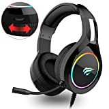 havit Headset für PS4, RGB Gaming Headset für PC, Xbox One, Laptop, mit Surround Sound 50MM Treiber und Rauschunterdrückung Mikrofon (Schwarz)