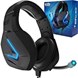 Gaming Headset für PC PS5, Playstation PS4, XBOX SERIES X | S, XBOX ONE,Nintendo Switch,Laptop & Google Stadia Stereo-Sound with mit Geräuschunterdrückung Microphone- Hornet RXH-20 Abyss Auflage