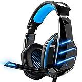 Gaming Headset für PS4 PS5 PC Xbox One, PS4 Headset mit Mikrofon Surround Bass Sound Kopfhörer Noise Cancelling LED Lichter