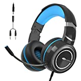 MageGee E6 Gaming-Headset, Kabelgebundene Headphones für PS4 PC Xbox One, Over-Ear Gaming-Headset mit Mikrofon, Verstellbares Kopfband, Lautstärkeregler, 3,5 mm Klinke Gaming-Kopfhörer, Schwarz