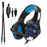 Beexcellent GM-1, Over-Ear Pro Gaming Headset, mit Kabel, 3,5 mm Stecker, Surround Sound, Kopfhöher mit LED-Beleuchtung und Mikrophon, für PS4, Xbox One, PC, Laptop, Tablet, Mobiltelefon (blau)