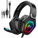 Gaming Headset mit Mikrofon Wlevzzor PS5 Headset mit Noise Cancelling Mikrofon, RGB LED Licht, 7.1 Surround Sound Gaming Kopfhörer für PS5, PS4, PC, Mac, Laptop, Handy, Xbox One