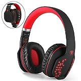 Beexcellent Bluetooth Gaming Headset Kopfhörer kabellos mit Mic, Bluetooth 4.1 Over-Ear-Kopfhörer, LED-Effekt, für PS4 PC Xbox One Laptop Tablet (Rot)