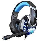 iporachx Headset PC, Gaming Headset mit Mikrofon, Kopfhörer für PS4 PC Xbox One Switch, Headset für Laptop/Mac/Tablet/Smartphone mit LED Licht Stereo Surround Noise Cancelling, Blau