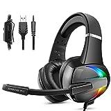 Beexcellent Gaming Headset für PS4 PC Xbox One, mit RGB Licht Bass Stereo Surround Sound Rauschunterdrückung Mikrofon 50MM Treiber