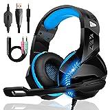 Gaming Headset für PS4 PS5 PC Xbox One mit Mikrofon Geräuschunterdrückung Stereo Surround Sound Komfortabler Kopfstrahl Blaues LED Licht, für Nintendo Switch Laptop Mac Handy Tablet