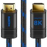 deleyCON 2m 8K UHD-II HDMI 2.1 Nylon Kabel 4320p 2160p 8K@60Hz 4K@120Hz 7680x4320p Metallstecker Dolby DTS HDR ARC CEC HDTV Ethernet