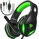 Gaming Headset für PS4, PS5, PC, Switch,Xbox One,Laptop,LED Licht Noise Cancelling Headset mit mikrofon,50mm Treiber Surround Sound Gaming Kopfhörer mit mikrofon