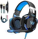 Gaming Headset, Headset für PS4 PC Xbox One, OCDAY Gaming Kopfhörer 3.5mm Surround Sound Kabelgebundenes mit Mikrofon, LED Licht für Laptop Mac Handy Tablet (Blau)