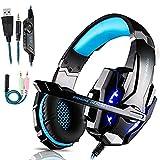 Gaming Headset für PS4 PC Xbox One, Professional Kopfhörer mit Mikrofon für Laptop/Mac/Tablet/Smartphone mit LED Licht 3.5mm Surround Sound Noise Cancelling (Blau)