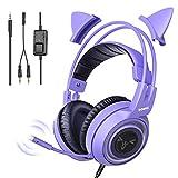 SOMiC G951S Violett Gaming Headset mit Mikrofon, Mädchen, Frauen Abnehmbarer Cat-Ear-Kopfhörer mit Lautstärkeregler für Xbox One, Switch, PS4, iPhone, iPad - 3,5-mm-Buchse