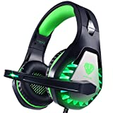 Pacrate Gaming Headset für PS4 PS5 PC Xbox One,Xbox Series X LED Clarity Sound Kopfhörer, Kopfhörer mit 3.5mm Noise Cancelling Microphone (Black Green)