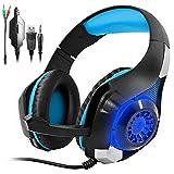 GM-1 Gaming Headset für PS4 Xbox One PC Tablet-Handy, Stereo-LED-Hintergrundbeleuchtung Kopfhörer mit Mikrofon von AFUNTA-Blau