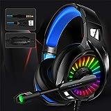 Thlevel Gaming Headset für PS4, PS5, RGB PC, Xbox One, Laptop, mit Surround Sound Treiber und Rauschunterdrückung Mikrofon PS5