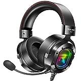RUNMUS Gaming Headset PS4 Headset, Headset PC mit Surround-Sound, kabelgebundenes Headset mit geräuschunterdrückendem Mikrofon und RGB-Licht, kompatibel mit Xbox One, PS5, Nintendo Switch, PC, Mac