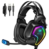 Gaming Headset für PS4 PS5 PC Xbox One mit RGB Licht Mikrofon Geräuschunterdrückung Stereo Surround Sound, für Nintendo Switch Laptop Mac Handy Tablet