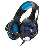 Gaming Headset, Cocar GM-1 PC Headset 3.5mm Kopfhörer mit Mikrofon LED Licht Surround Sound Kopfhörer für Gaming PC PS4 PS5 PC Xbox One (Schwarz & Blau)
