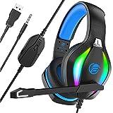 Fachixy Gaming Headset für PC, PS4, Xbox One,mit RGB, Gaming Kopfhörer mit Mikrofon,USB Headset PC mit Mikrofon Stereo Surround, für 3,5MM Buchse