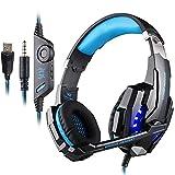 PUNICOK G9000 PS4 Gaming Headset Kopfhörer mit Mikrofon 3.5mm On Ear Surround Sound Ohrhörer und Lautstärkeregelung für PS4 Xbox One PC Laptop Tablet Mobile Phones Blau …